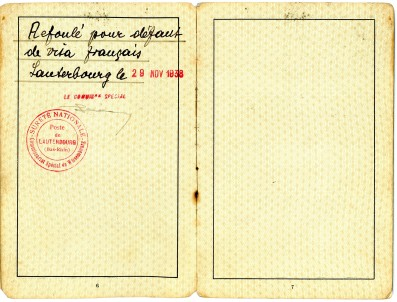 Passport with 'refoule' notice