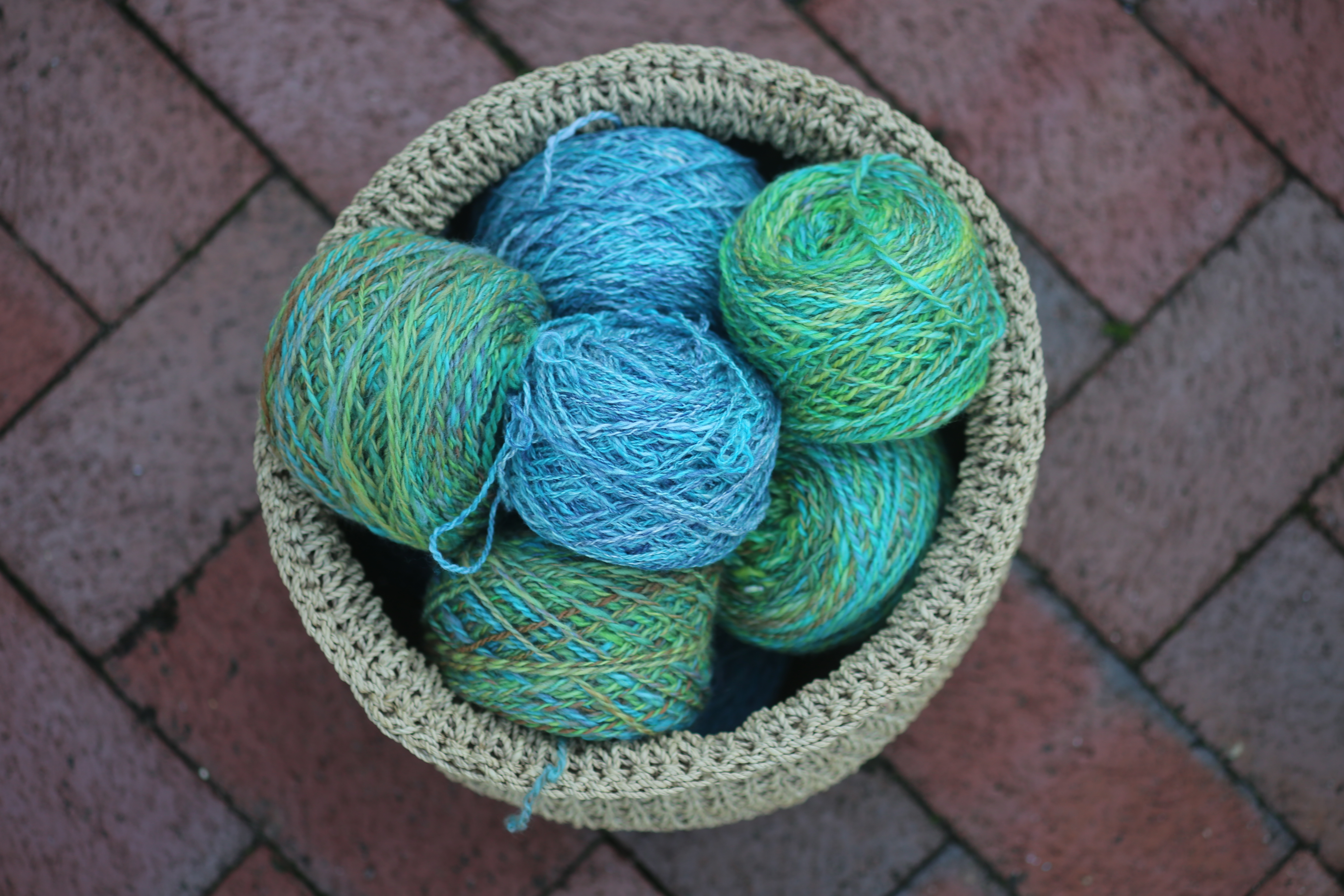 blues and greens basket